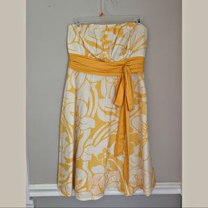 The Limited yellow & white floral strapless dress